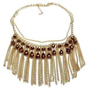 Goldtone Bib Necklace Faceted Brown Rhinestones